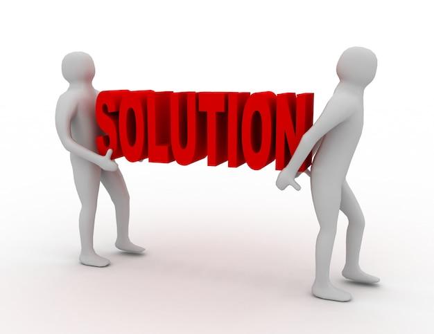 La gente blanca 3d lleva la palabra roja de la solución. concepto de éxito empresarial