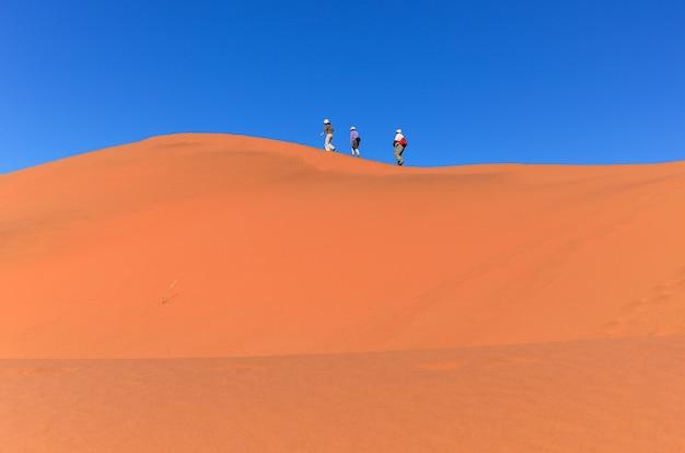 Gente caminando en la hermosa duna del desierto de namib, viajando y haciendo senderismo en sudáfrica