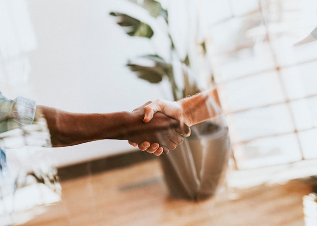 Gente dándose la mano en una reunión