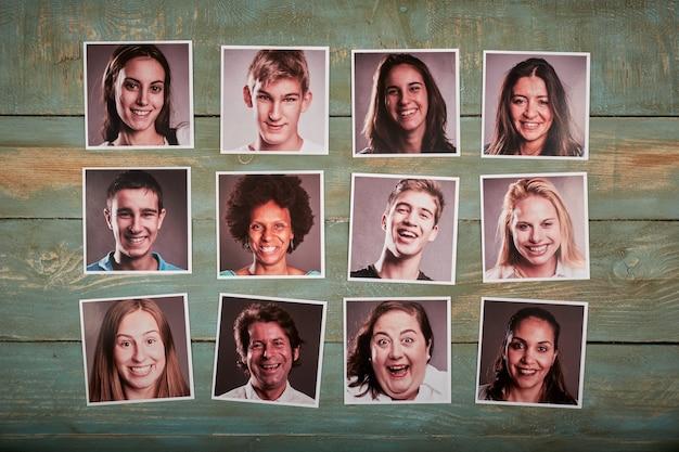 Gente feliz, retrato, fotos, en, un, espacio de madera