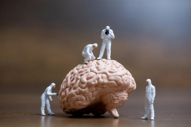 Gente en miniatura, científico observando y discutiendo sobre el cerebro humano, atención médica y concepto de servicio médico quirúrgico.