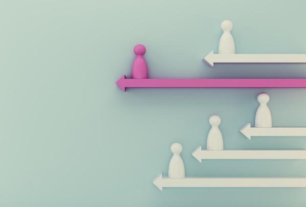 Gente modelo rosa sobresaliente con flecha en azul. recursos humanos, gestión del talento, contratación de empleados, líder exitoso del equipo de negocios