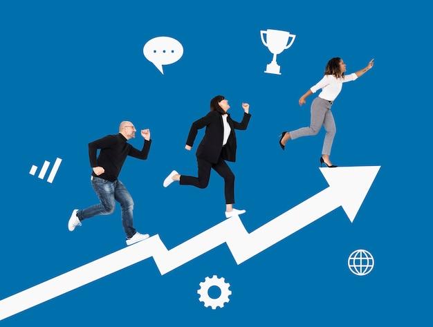 Gente de negocios apresurada hacia el éxito