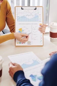 Gente de negocios discutiendo datos financieros