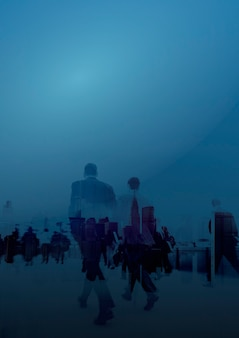 Gente de negocios en fondo azul