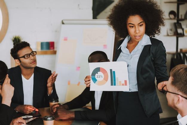 Gente de negocios interracial en reunión en la oficina