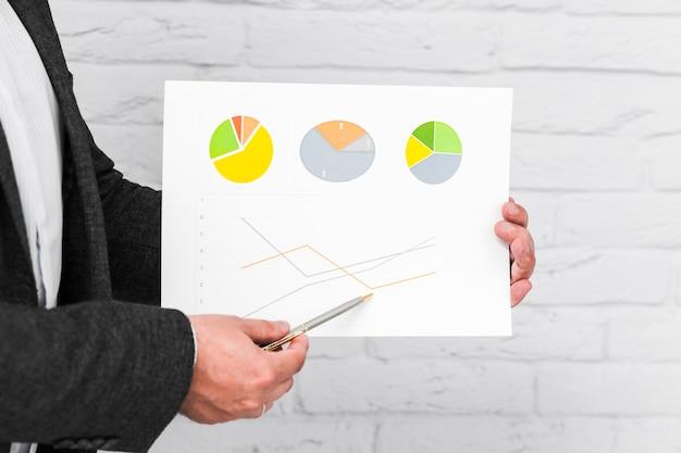 Gente de negocios mostrando gráficas y estadísticas