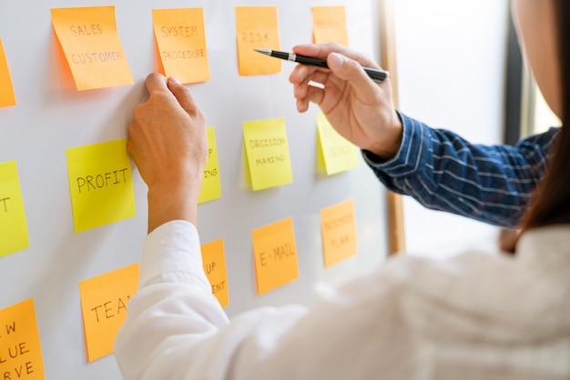 Gente de negocios organizando notas adhesivas comentando y haciendo una lluvia de ideas sobre las prioridades del trabajo colega en un espacio moderno de trabajo conjunto.