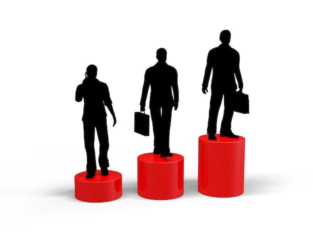 Gente de negocios, silueta, crecimiento profesional.
