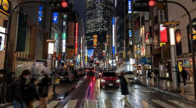 Gente de paisaje urbano en japón