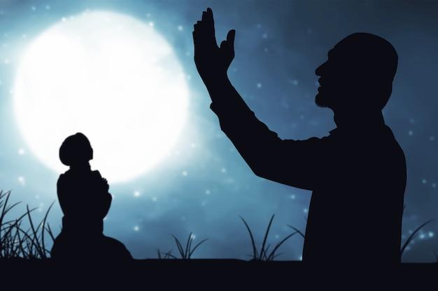 Gente rezando con el fondo de la escena nocturna