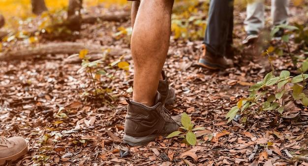 Gente trekking en el bosque