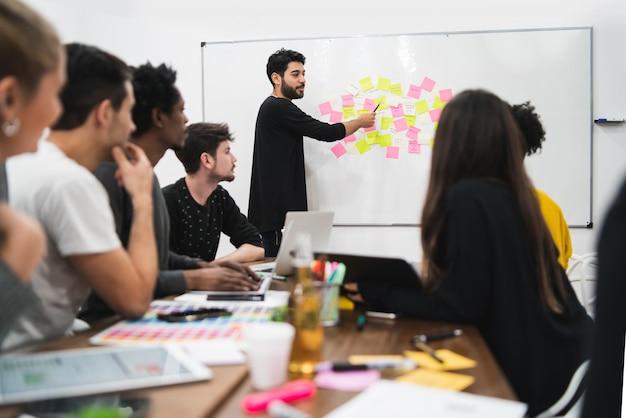 Gerente liderando una reunión de lluvia de ideas