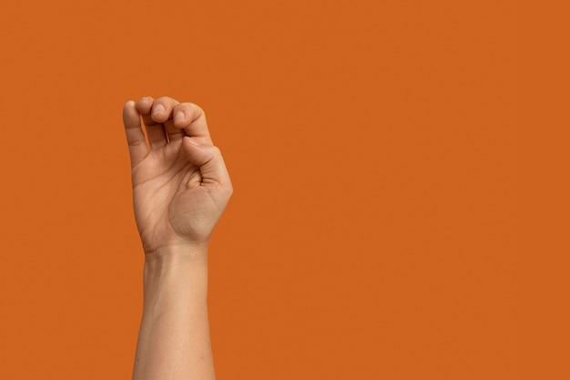 Gesto de la mano del lenguaje de señas con espacio de copia