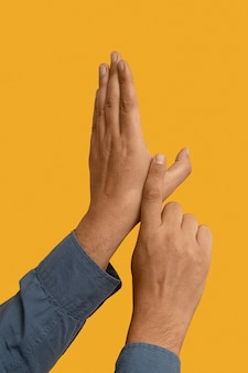 Gesto de la mano de lenguaje de señas