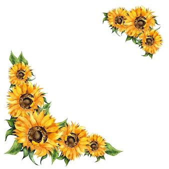 Girasoles pintura de acuarela marco de esquina marco de otoño festival de la cosecha de acción de gracias