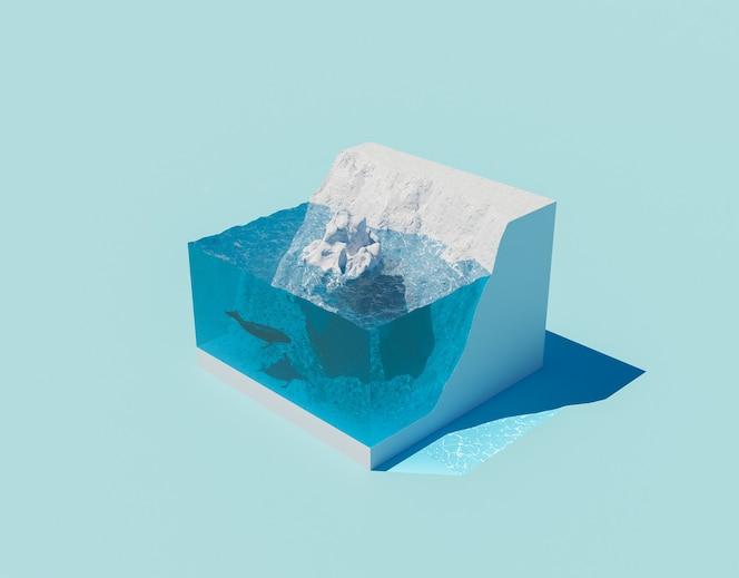 Glaciar isométrico con iceberg flotante y cambio climático de ballenas.