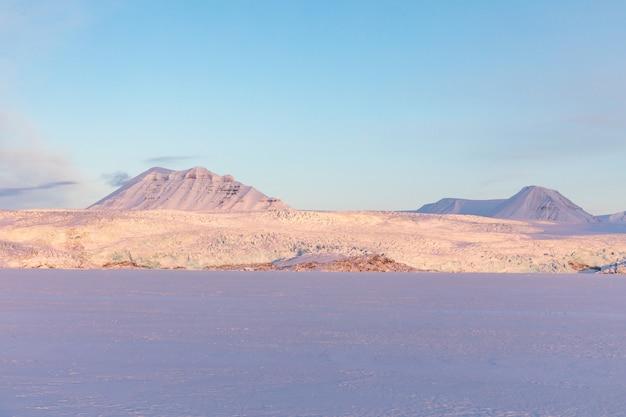 El glaciar nordenskiold en billefjorden en svalbard, noruega.
