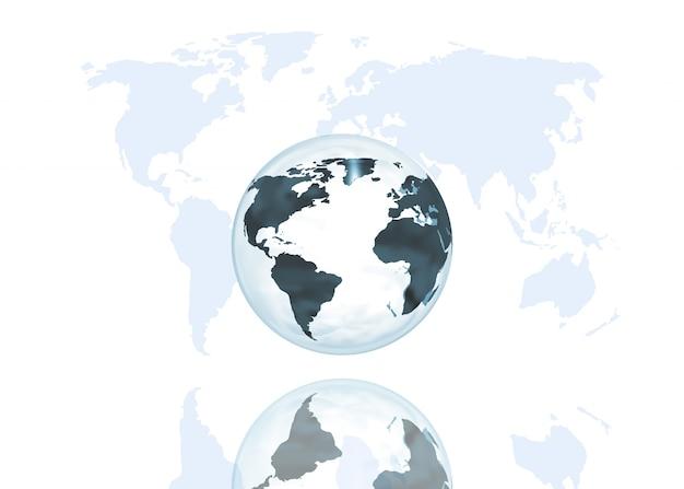 Globo abstracto sobre un fondo de mapa del mundo