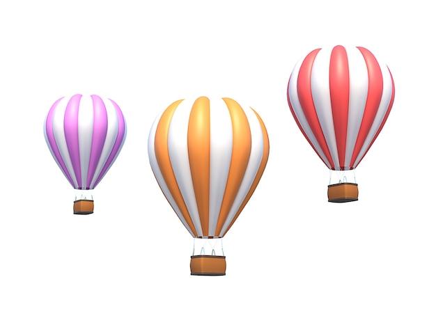 Globo de aire caliente, aerostato colorido aislado en blanco. ilustración 3d