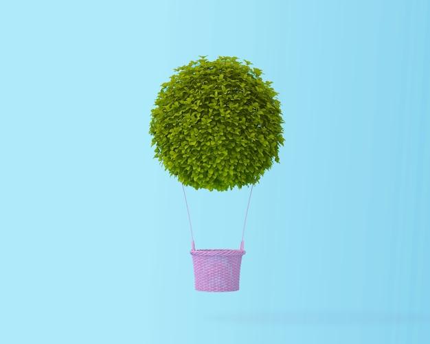 Globo de aire caliente arbusto verde