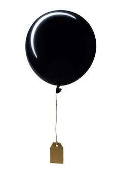 Globo de aire caliente negro con etiqueta de precio de cartón adjunta, aislado sobre fondo blanco. vertical