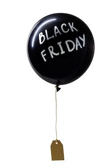 Globo de aire caliente negro con letras blancas de black friday y etiqueta de precio adjunta,
