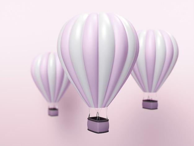 Globo de aire caliente con rayas blancas y rosas, aerostato de colores sobre fondo azul. ilustración 3d
