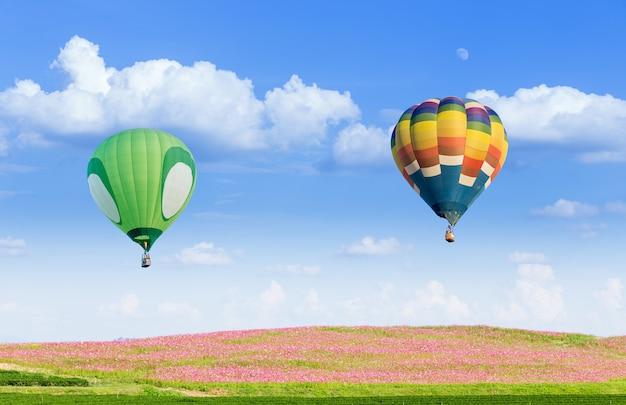 Globo de aire caliente sobre los campos con fondo de cielo azul