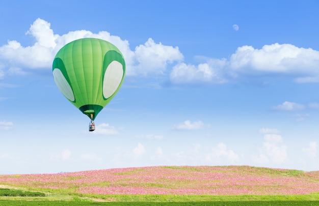 Globo de aire caliente verde sobre campos de flores rosas