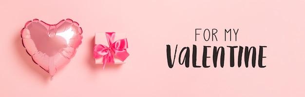 Globo de aire rosa en forma de corazón caja de regalo rosa con cinta rosa