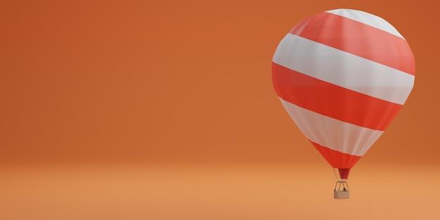 Globo blanco y rojo sobre fondo naranja concepto de viaje. representación 3d
