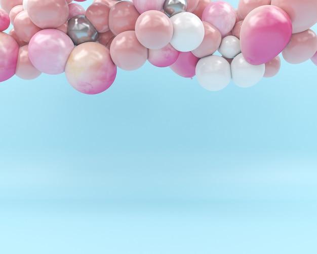Globo colorido volar en el aire fondo azul 3d render pastel