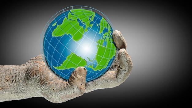 Globo en la mano de un hombre. ecología y seguridad del planeta. proteccion ambiental. ilustración. concepto de diseño y publicidad. copie el espacio. imagen 3d.