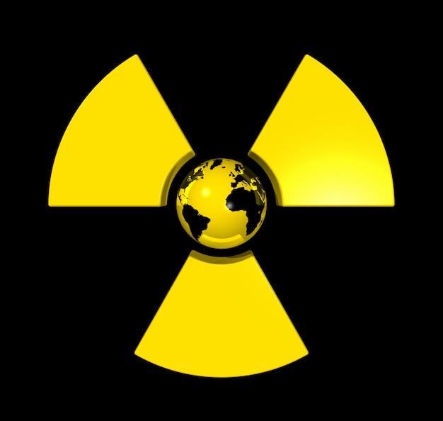 Globo de mundo aislado 3d en el centro de un icono de símbolo radiactivo