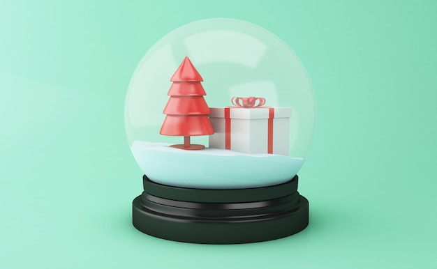 Globo de la nieve 3d con el árbol de navidad y la caja de regalo.