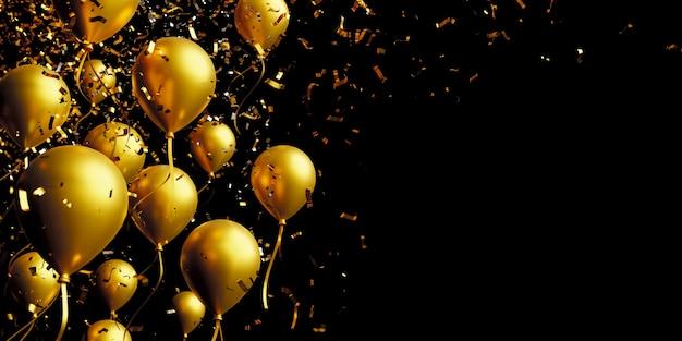 Globo de oro y confeti de papel de aluminio sobre fondo negro con espacio de copia 3d render