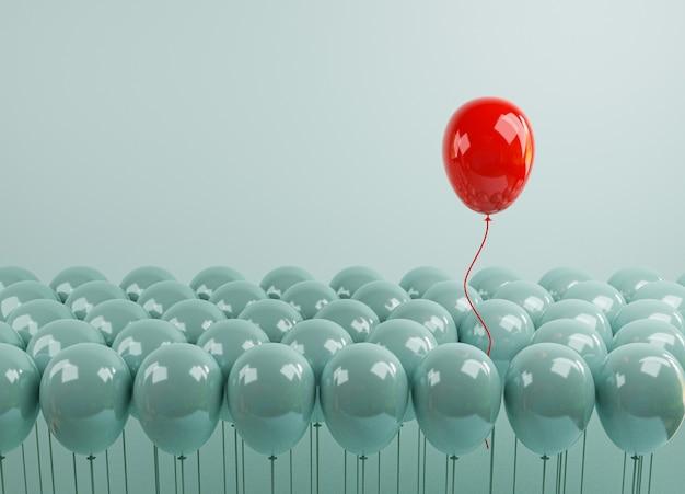 Globo rojo flotando desde globos azules que están atados sobre fondo azul, rendimiento sobresaliente de la multitud por diferentes pensamientos, interrupciones y liderazgo mediante renderizado 3d.