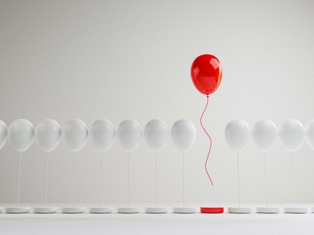 Globo rojo flotando desde globos blancos que están atados a la plataforma sobre fondo blanco, rendimiento sobresaliente de la multitud por diferentes pensamientos, interrupciones y liderazgo mediante renderizado 3d.