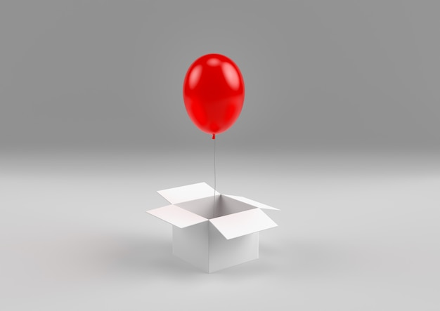 Globo rojo volando fuera de la pequeña caja mágica representación 3d mínima
