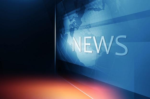 Globo terráqueo dentro de la gran pantalla de tv plana con texto de noticias