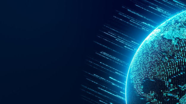 Globo terráqueo digital en el ciberespacio con banda de luz de neón que fluye de datos