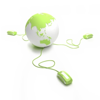 Globo terráqueo verde y blanco conectado con tres ratones de computadora