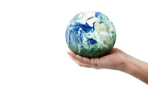 Globo, tierra en mano humana. imagen de la tierra proporcionada por la nasa