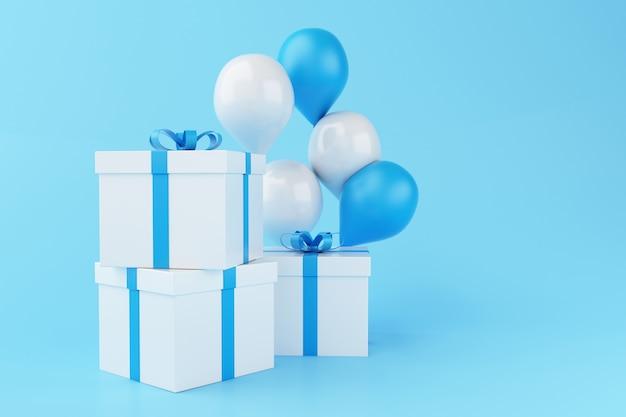 Globos 3d y cajas de regalo en fondo azul.
