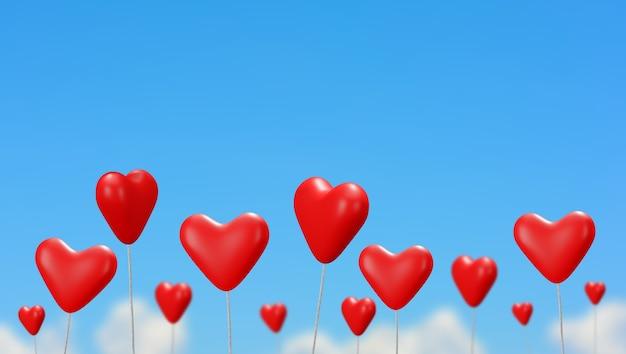 Globos de corazón rojo con fondo de cielo azul, render 3d.