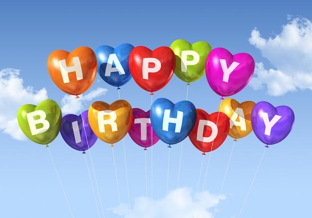 Globos de feliz cumpleaños en forma de corazón