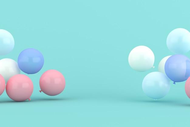Globos flotantes sobre fondo verde. representación 3d.