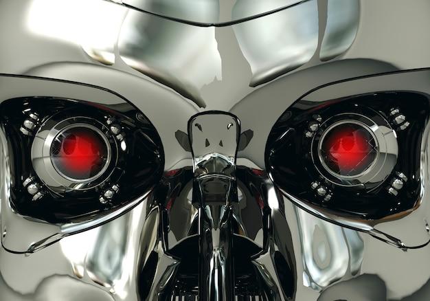 Globos oculares robóticos rojos y cráneo de robot en superficie metálica, tecnología cibernética, representación 3d