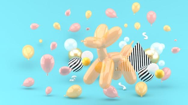 Los globos para perros se encuentran entre los globos de colores en el azul. render 3d